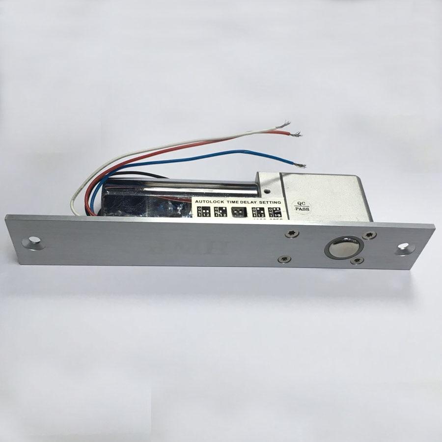 Livraison gratuite 4 fils (NO et com) verrou à pêne avec retard avec contrôle d'accès magnétique à sortie unique serrure à mortaise