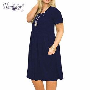 Image 4 - Nemidor 2019 Frauen Solide Oansatz Kurzarm Casual T shirt Kleid Plus Größe 7XL 8XL 9XL Midi Plissee Schaukel Kleid Mit taschen