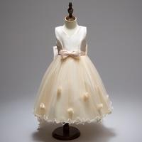 Retail High Quality Mesh Elegant V Neck Girls Summer Evening Party Trailing Dress Ruffled With Big