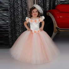 Lovely Puffy Orange Flower Girls Dresses For Wedding Ruched Scoop 2016 First Communion Kids Gowns With Flower Ball Gown Princess