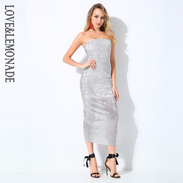 Love Lemonade Silver Boobs Stretch Sequins Party Dress LM0769-in ... 9ae722d5dad5