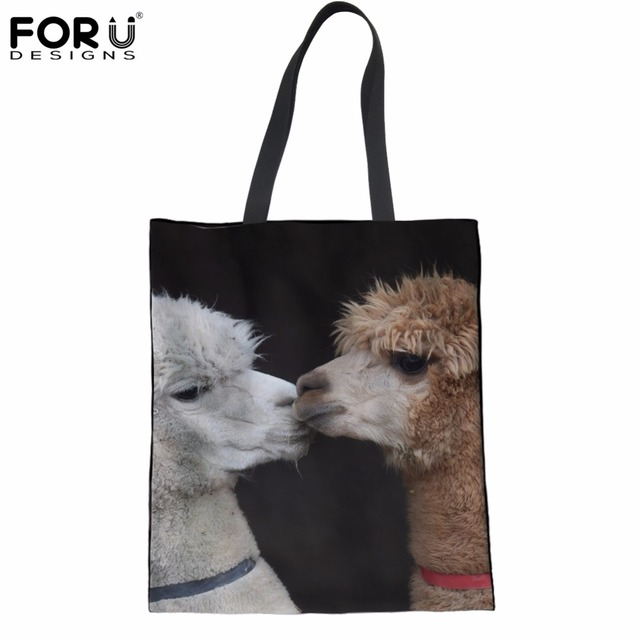 FORUDESIGNS Handbags Women Luxury Tote Bags 2018 3D Animal Alpaca Print Women s  Recycle Canvas Shopper Bags c61126397