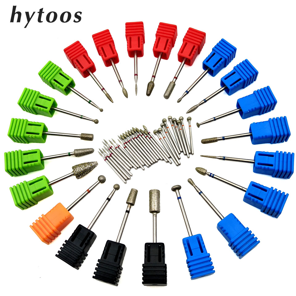 HYTOOS 1Pc Diamond Nail Drill Bit Rotate Burr High Quality Manicure Cutters For Cuticle Drill Machine Accessories Nail Art Tools
