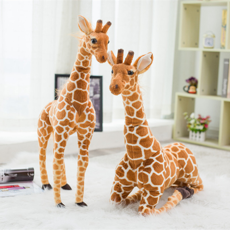 Hot 120cm Super Giant Simulation Giraffe Plush Stuffed Toy Soft Deer Animal Home Accessories Cute Giraffe Doll Children Gifts giraffe animal series many chew toy pet
