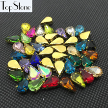Topstone Xilion Teardrop Fancy Stone With Gold-claw setting 6X10,8X13MM Droplet Sewing Glass Crystal Beads Jewelry making(China)