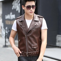 b Spring autumn Men's Leather Biker Vest With shoulder Epaulets Men Faux Leather Waistcoat Sleeveless Jacket Coat Outerwears