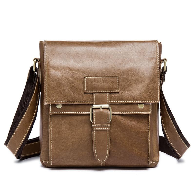 ФОТО High Quality Genuine Leather Men Bags Male Small Messenger Bag Man Crossbody Shoulder Bag Men's Travel Bags 9040#