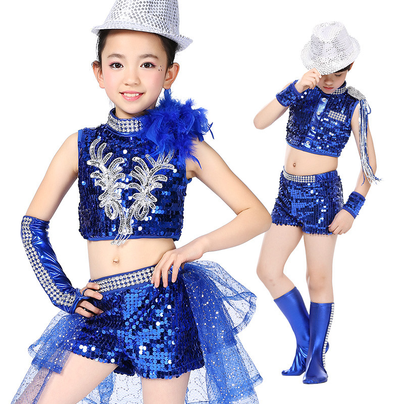 Free Shipping Sequin Boys Girls Kids Jazz Dance Clothes Stage Competition Ballroom Children Hip Hop Dancing Wear Hiphop Costumes