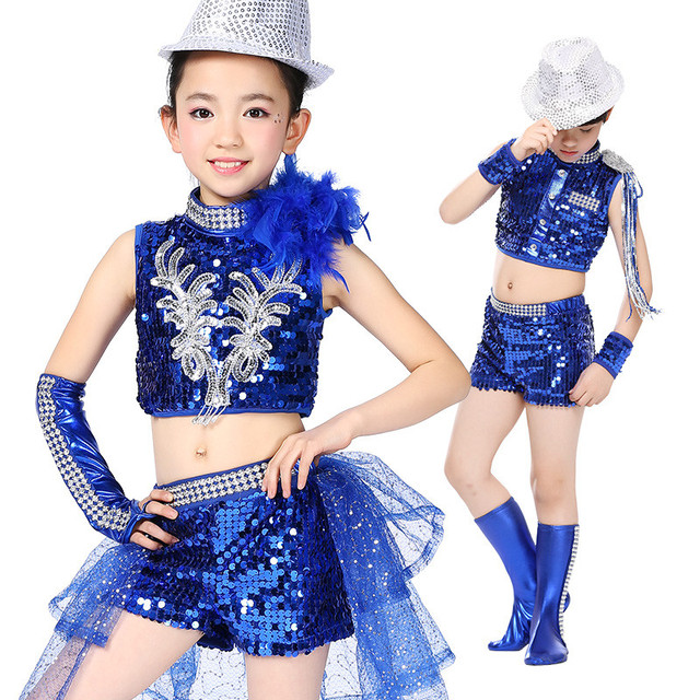 78d5dc8d6 Free Shipping Sequin Boys Girls Kids Jazz Dance Clothes Stage Competition  Ballroom Children Hip Hop Dancing Wear Hiphop Costumes