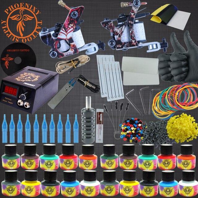 Тату Комплект 20 Цветов Чернила Татуировки Наборы 2 Машины Набор черный Питания Иглы Перманентный Макияж Тату Комплект набор