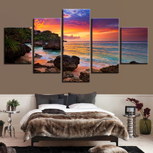 Pictures Artwork Canvas Printed Seascape 5 Panel Decoration Poster Sunset Glow Wall Art Painting Beach Waves Modern Frame