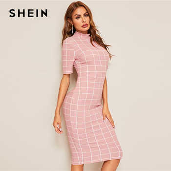SHEIN Mock-Neck Grid Textured Pencil Dress Elegant Women Pink Zipper Stand Collar 2019 Summer Dress Short Sleeve Bodycon Dress - DISCOUNT ITEM  45% OFF All Category