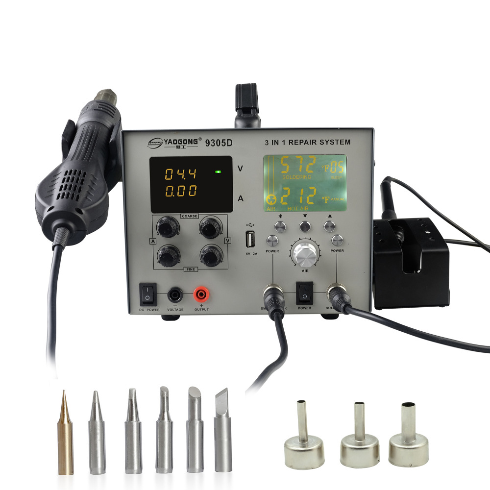 YAOGONG 9305D Hot Air Brushless 4 In 1 ESD Safe LCD Display Automatic Digital Soldering SMD Rework Station