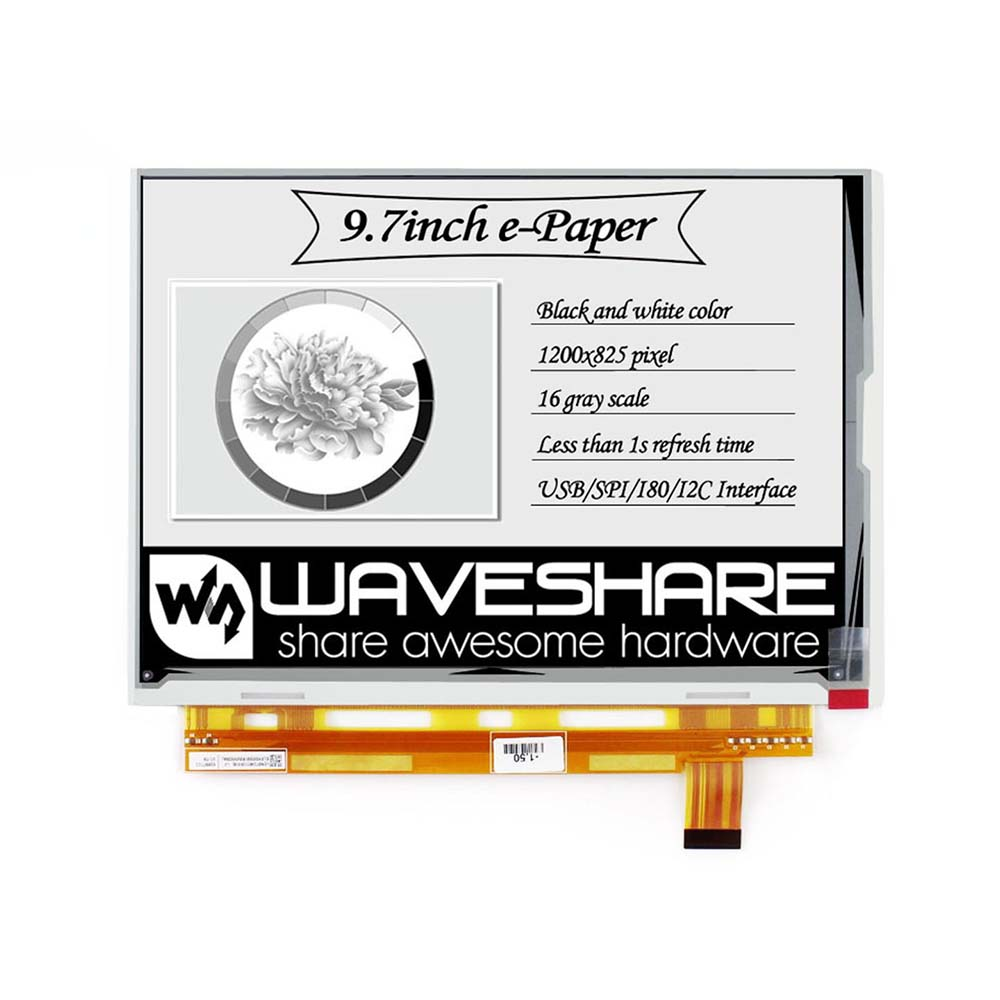 Waveshare 1200x825, 9.7inch E-Ink Raw Display, Parallel Port, Without PCB