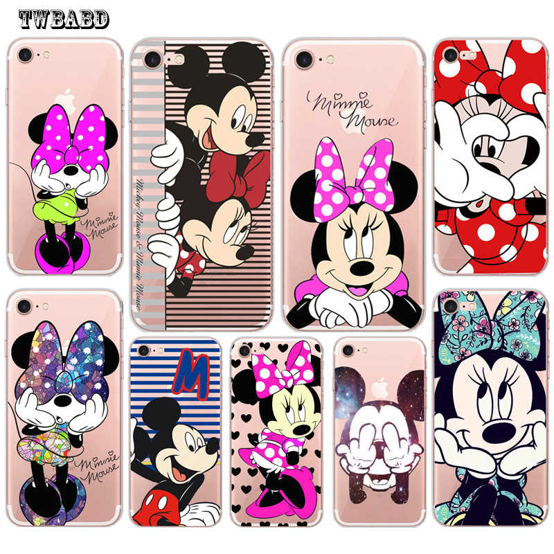 Mignon Minnie coque en silicone souple pour Funda iPhone 8 coque X XS Max XR 6 6S 8 8Plus 5 5S SE belle Mickey pour coque iPhone X Etui