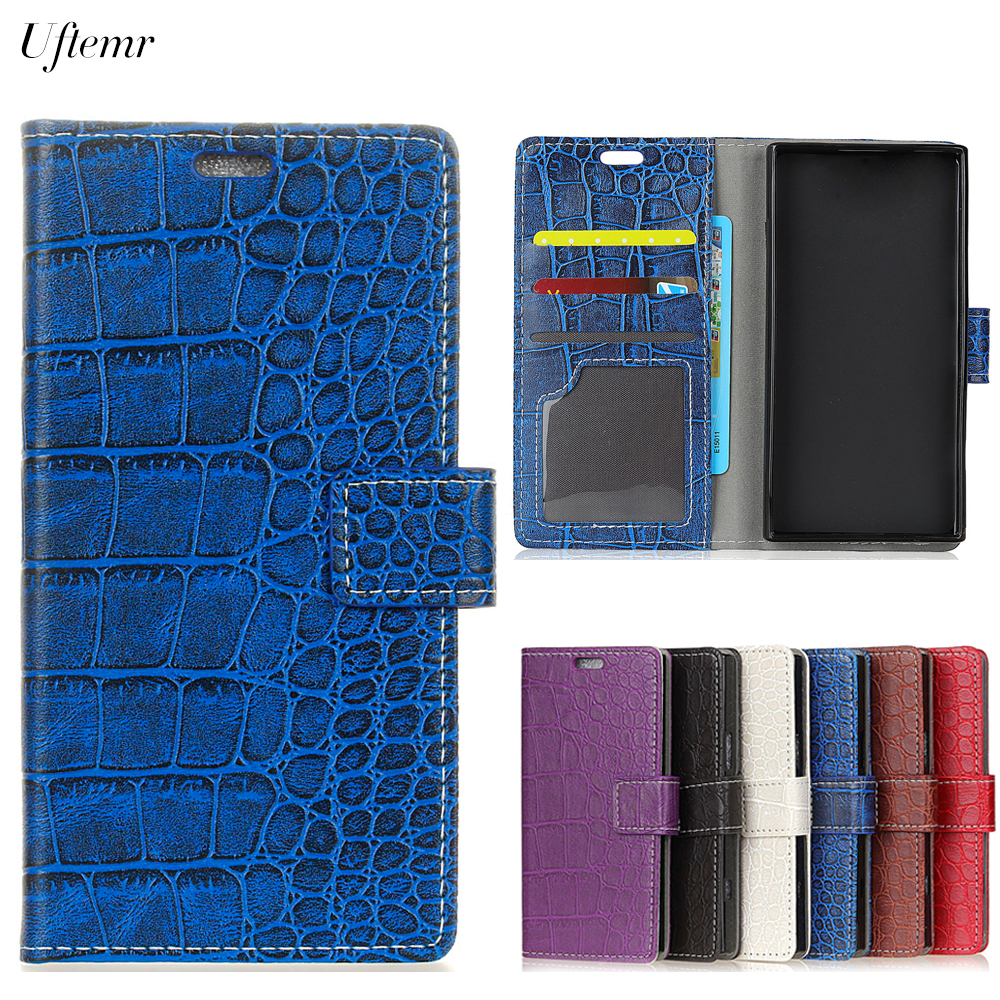 Uftemr Vintage Crocodile PU Leather Cover For Alcatel A50 Protective Silicone Case Wallet Card Slot Phone Acessorie