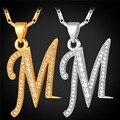 Inicial M Carta WomenMen Colgantes y Collares Collar Chapado En Oro Del Alfabeto de La Joyería de Regalo Personalizado P1683