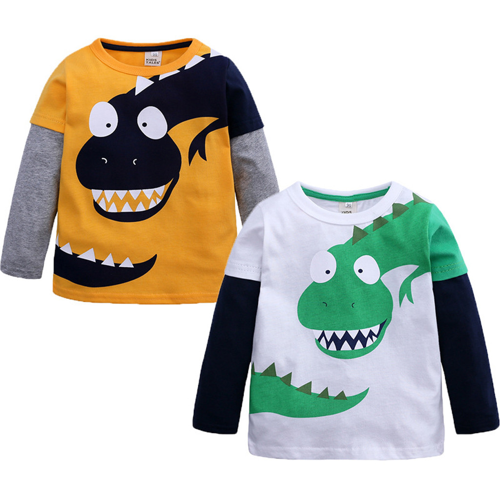 TELOTUNY Sweatshirts Dinosaur Toddler Autumn Winter Kids Children Boys Cartoon Z203 Tops