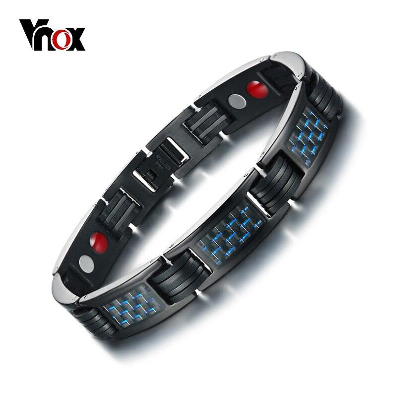 Vnox Carbon Fiber Bio Energy Power Magnetic Bracelet Men Bangle Stainless Steel Health Care Male Jewelry