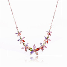 FYM High Quality Fashion Flower Shape Colorful Pendants & Necklaces Cubic Zircon Jewelry Crystal For Women Party fym high quality fashion high heels shape crystal cubic zirconia necklace