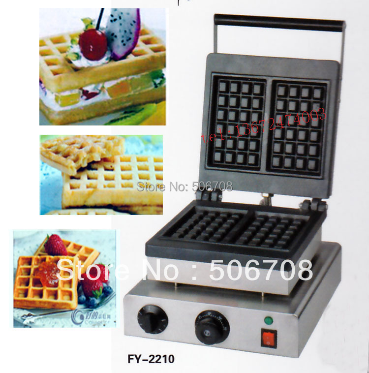 Free shipping 110v 220V 2 pcs/plate Electric Belgium waffe maker machine free shipping 110v 220v 5 pcs plum blossom sweet donuts making machine