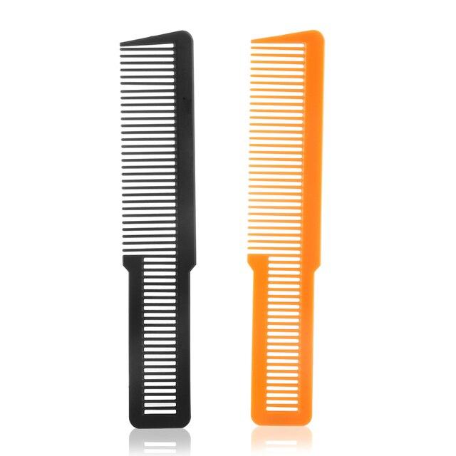 1 ピースプロフェッショナルフラットトップスタイリストサロンくしヘアブラシ理髪クリッパー理髪ケアヘアスタイリングツール黒/ オレンジ