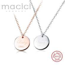 Personalise custom made necklace round charm necklace free 925 silver engrave letter name necklace silver 925