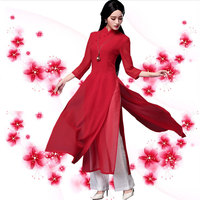 Japanese Ao Dai Three Quarter Kimonos Direct Selling Polyester Women Ao Dai Haori 2018 New Sleeve Vietnam Aodai Cheongsam Dress