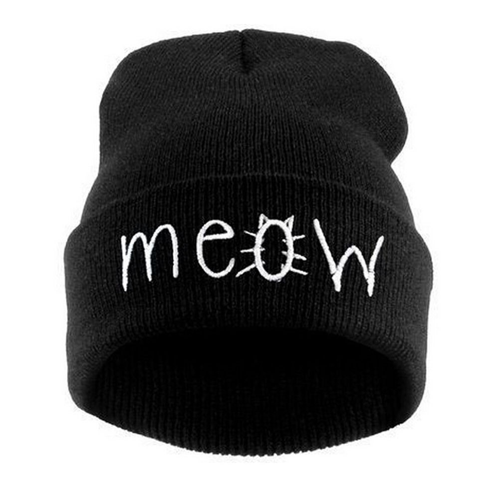 #4 2018 NEW HOT Fashion DROPSHIP Winter Knitting MEOW Beanie Hat And Snapback Men And Women Hiphop Cap Freeship