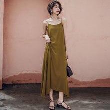 New Womens Sling Dress Spring and Summer 2019 Fashion Simplicity ackless Hem fork Irregular Long Chiffon Female