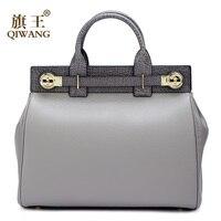 Qiwang высокое качество сумки натуральная кожа Для женщин натуральная кожа тотализатор ручки сумки роскошные модные Брендовая Дизайнерская о