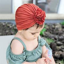 Baby Turban Cotton Flower Girls Hats Indian Style Kids Headwrap Headbands