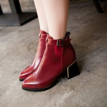 2015 winter autum women boots size 35-43 softs high heels fashion quality motorcycle shoes woman leather ankle boot S-65