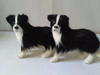 Plastic Furs Black Border Collie Model Mini 10x4x9cm Shepherd Dogs One Lot 2 Pcs Handicraft Prop