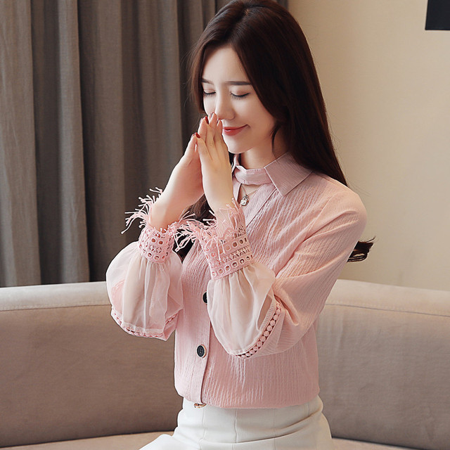 Spring 2019 New Style Long Sleeve women blouses Chiffon shirt lace V-neck shirt woman white blouse causal ladies tops 1891 50 2