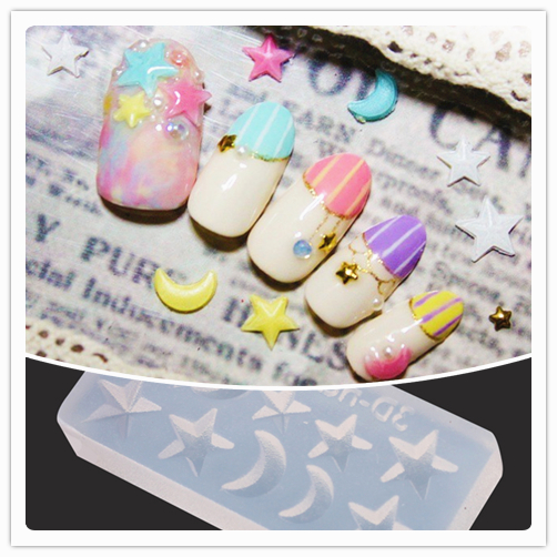 Image 2 - 3D Acrylic Mold for Nail Art Decorations DIY Design Silicone Nail Art Templates Pattern manicure beauty Nails Art Cattie Girl-in Nail Art Templates from Beauty & Health