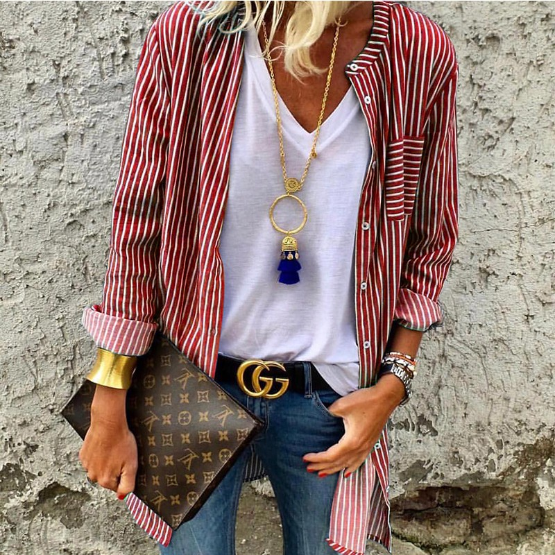 DeRuiLaDy 2018 Autumn Winter Women Striped Long Sleeve   Blouse     Shirt   Female Loose Long Cardigan Casual Ladies Office   Blouses   Tops