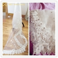 New 2015 Real Photos 3M Ivory Luxury Cathedral Length Lace Edge Wedding Bridal Veil With Comb Crystal Wedding Accessories MD3088