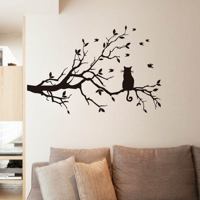 Dctop New Arrival Wall Sticker For Living Room Decoration Cat On Long Tree Branch Vinyl Wall
