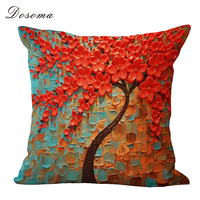3D Flower Trees Printed Cotton Cushion Cover Painting Cotton Sofa Bedside Sofa Waist Throw Pillows Cover