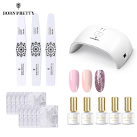 BORN PRETTY 24W Nail Dryer Set UV Gel Polish Curing Lamp Kit Base Top Nail Art File Block Buffer Manicure Kit