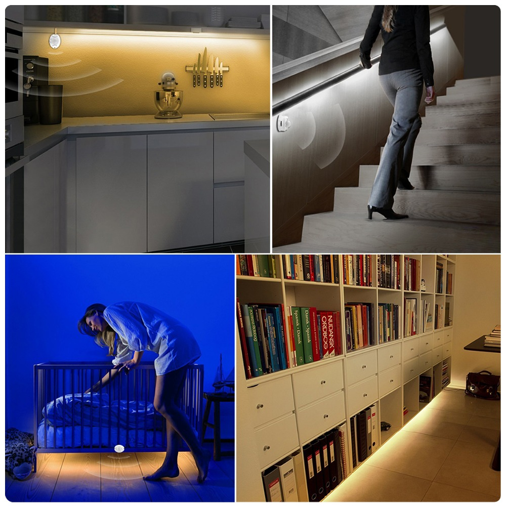 Image 5 - US EU PIR Motion Sensor Kitchen Light Tape 12V LED Night Light IR Body Move Detection Ribbon Strip Lamp corridor bed wardrobe-in LED Night Lights from Lights & Lighting