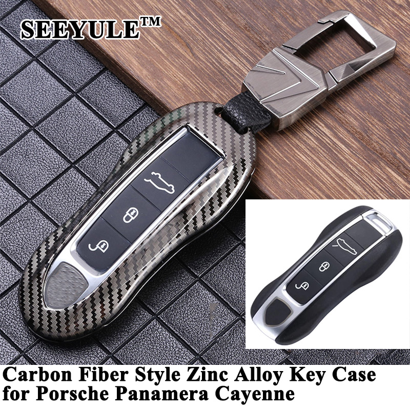 1pc SEEYULE Carbon Fiber Style Car Key Cover Case Protector Shell Accessories for Porsche Panamera 2017