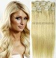 """613 frete grátis mais leve loira 16 """" - 32 """" 100% brasileiro remy grampos de cabelo / extensões de cabelo humano 10 Pcs conjunto de espessura"""