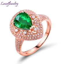 Estate Large 2.44ct Diamond &Pear Shape Emerald 18Kt Rose Gold Engagement Ring for Women Christmas Gemstone Wholesale Jewelry