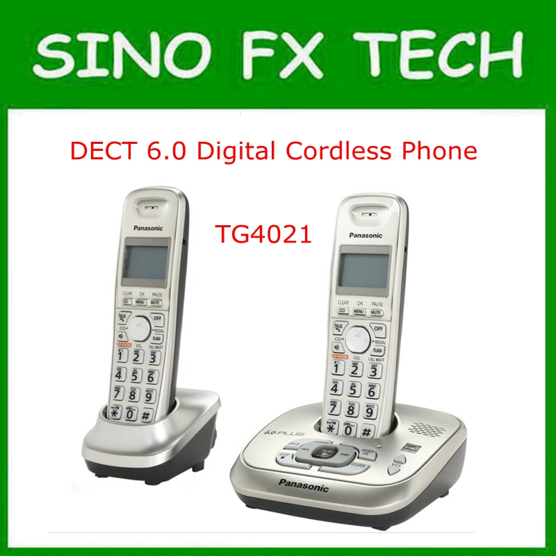 DECT 6.0 Plus 1.9 GHz Digital Cordless Phone Call ID Handfree DEL Wireless Home Telephone Office phone KX TG4021 2 handsets kx tg4021 digital cordless phone with answering system dect 6 0 silver