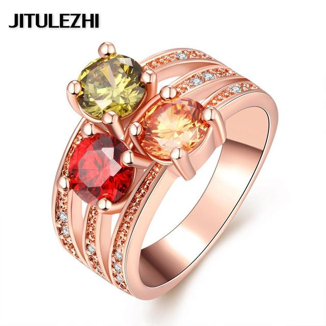 Plating Rings For Men Women Stone Wedding Ring Bridal Jewelry Joias Ouro Clic Brazilian