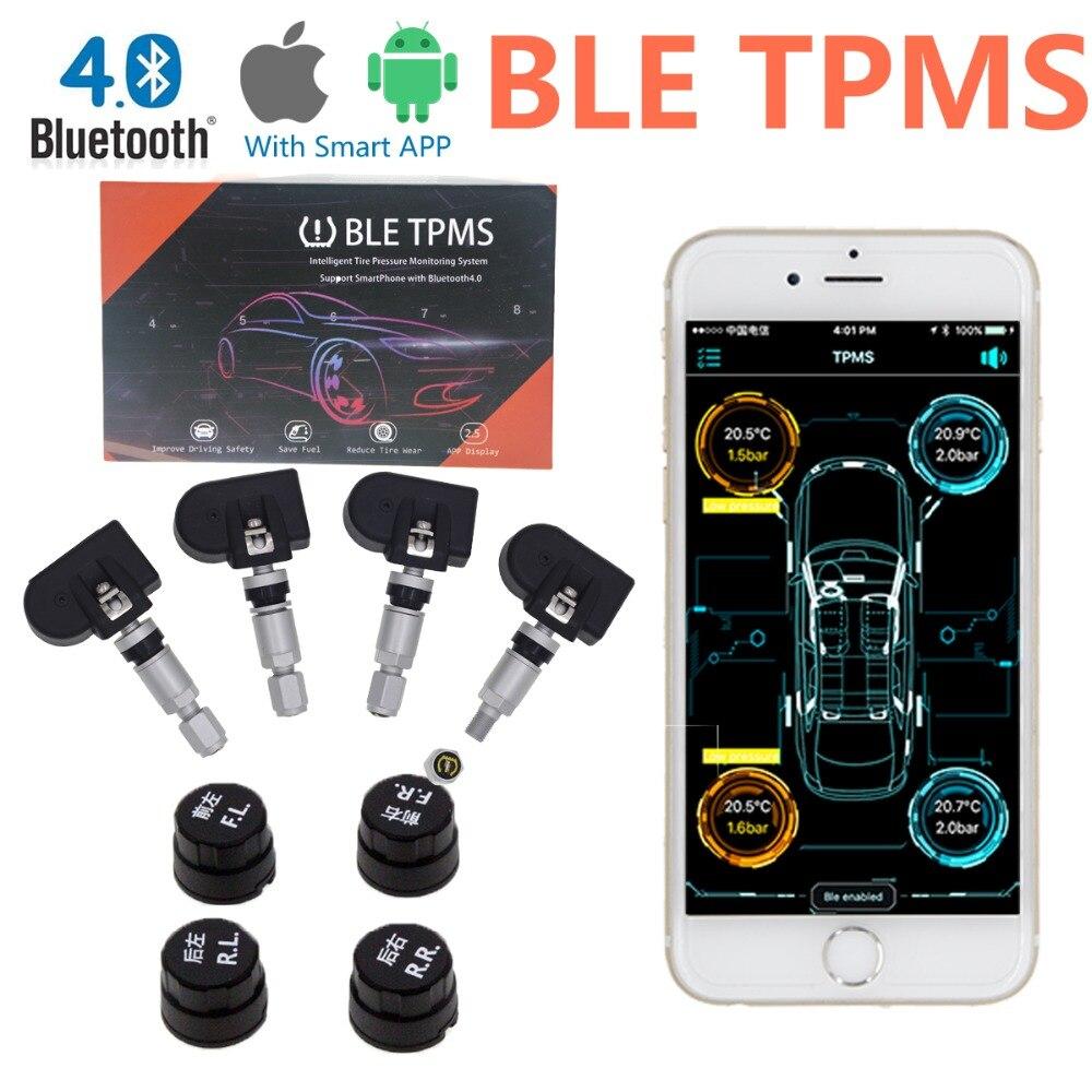 Nuovo Arrivo Pneumatici TPMS Sistema di Monitoraggio Della Pressione Dei Pneumatici TPMS Bluetooth BLE per iOS Android Phone App Display con 4 Sensori