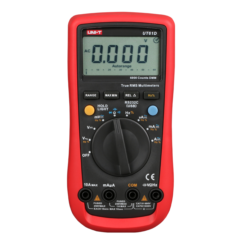 Digital Multimeter UNI-T UT61D True RMS Auto Range 6000 Counts Modern Digital Multimeters  ACDC Meter CD Backlight uni t ut60b modern auto ranging data hold dmm digital multimeters w capacitance