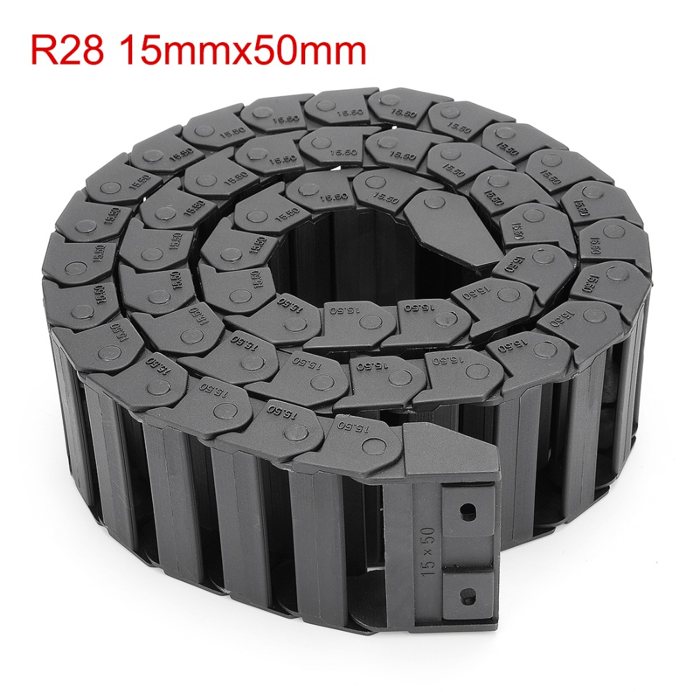 Hot R28 15mm x 50mm Gloss Cable Drag Chain Wire Carrier with End Connector Length 1m for 3D Printer CNC Router Machine Tools free shipping best price 10 x 15mm l550mm cable drag chain wire carrier with end connectors for cnc router machine tools